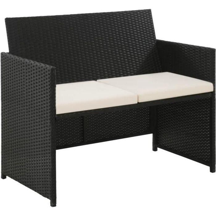 Magnifique - Canapé de jardin à 2 places - Sofa Divan Banquette de jardin Canapé avec coussins - Noir Résine tressée