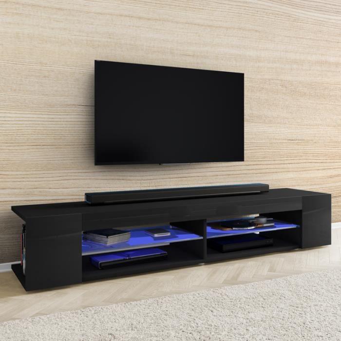 Meuble TV / Meuble de salon - MITCHELL - 180 cm - noir mat / noir brillant - éclairage LED bleu à piles - style moderne