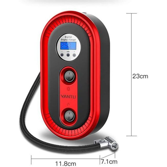 Compresseur d'air portable voiture, 12V 120W digital gonfleur de pneuavec lumière LED, jauge de pression numérique, moniteur LCD