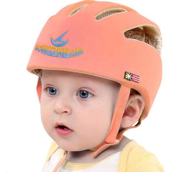 Bébé casque de protection, Chapeau infantile Tête de protection Chapeau de coton pour enfant, réglable casque de sécurité, Orange