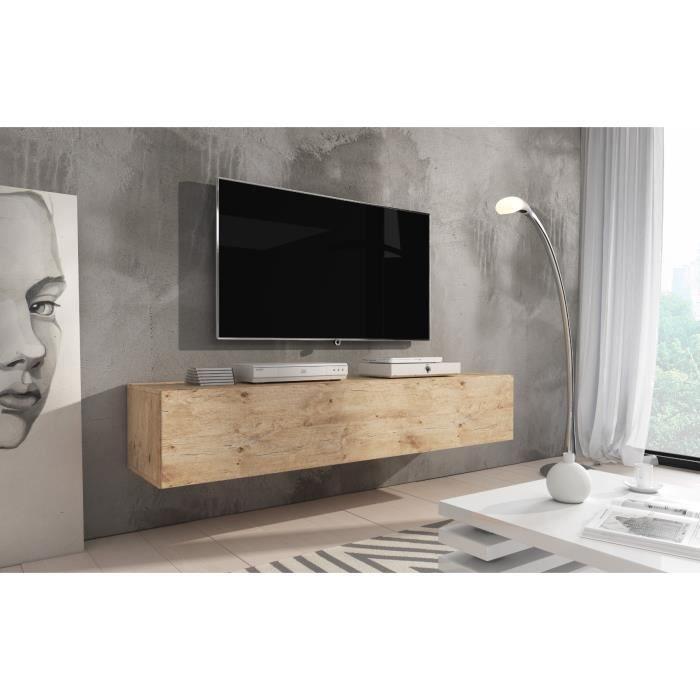 e-Com - Meuble TV flottant Rocco - 160 cm - Lancelot Chêne