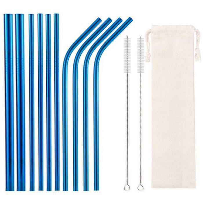 Accessoires bar,Pailles réutilisables pour boissons, avec brosses de nettoyage, paille en acier inoxydable - Type Blue White Bag