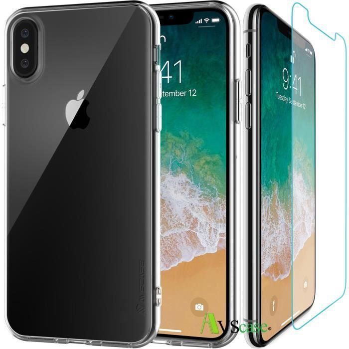 Pack iPhone X - 1 Coque Silicone + 1 Verre Trempé - AVSCASE