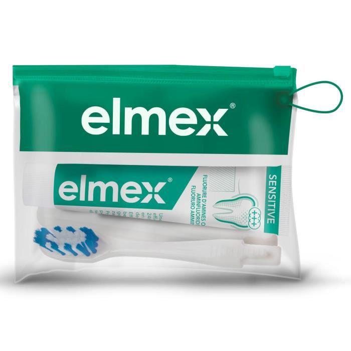 ELMEX Kit de voyage Sensitive Dents Sensibles - Brosse à dents souple & Dentifrice mini 12 ml