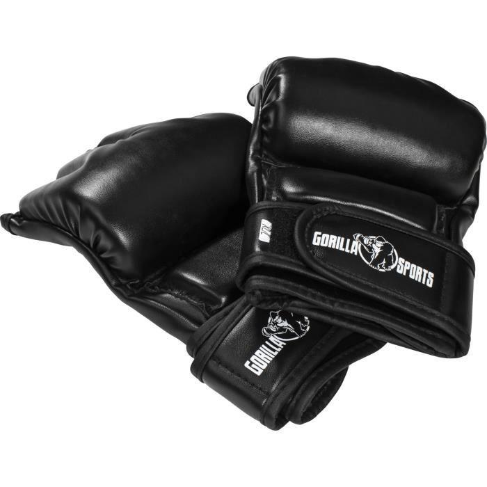 Gants de boxe - Mitaines arts martiaux Gorilla Sports MMA noir Noir