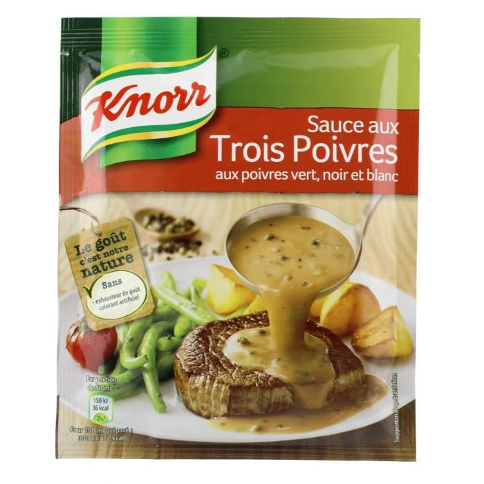 KNORR Sauce Déshydratée Poivres Vert Noir et Blanc - 32 g