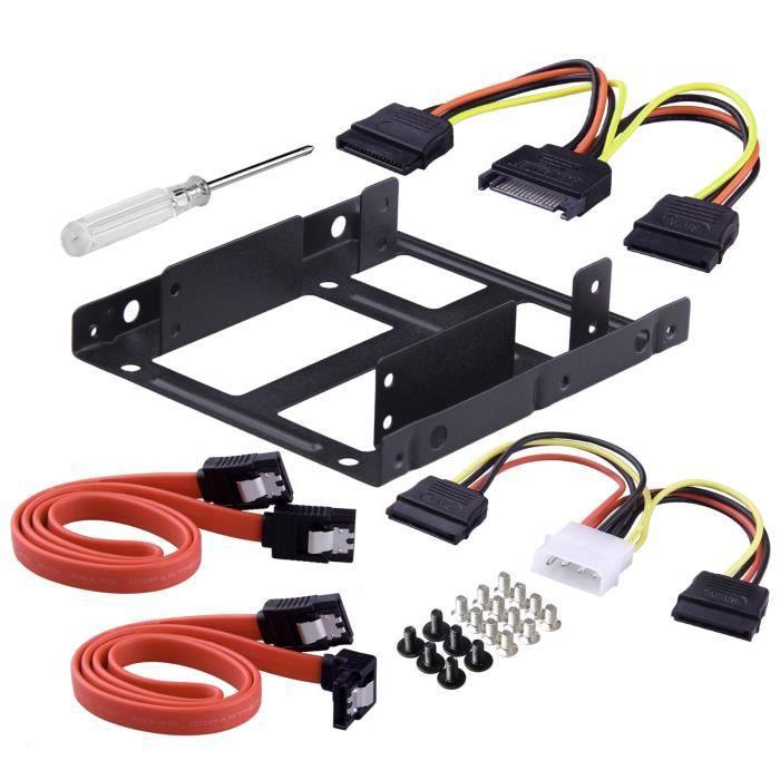 Moonmini Kit de montage pour disque dur interne Ssd de 2,5 pouces à 3,5 pouces (câbles de données Sata et câbles d'alimentation incl