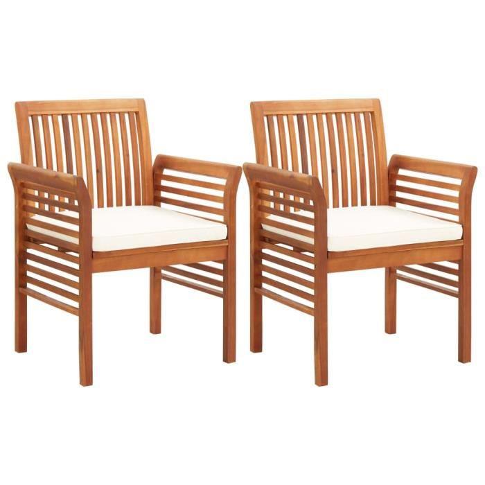 Lot de 2 Chaises à dîner de jardin et coussins - Fauteuil Jardin - Bois d'acacia massif