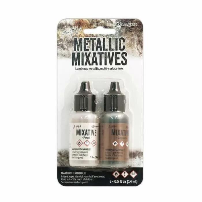 Set d'encres à alcool 'Alcohol Inks Metallic Mix Pearl & Copper' Tim Holtz de Ranger