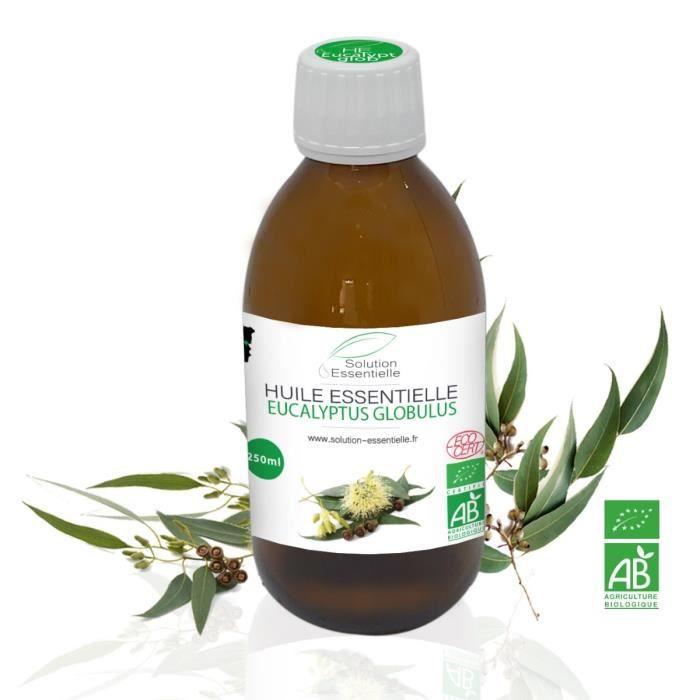Huile Essentielle BIO d'Eucalyptus globulus 250ml. Huile Chémotypée ABLabel, Ecocert Bio 100% Pure et Naturelle ENTREPRISE FRANCAISE