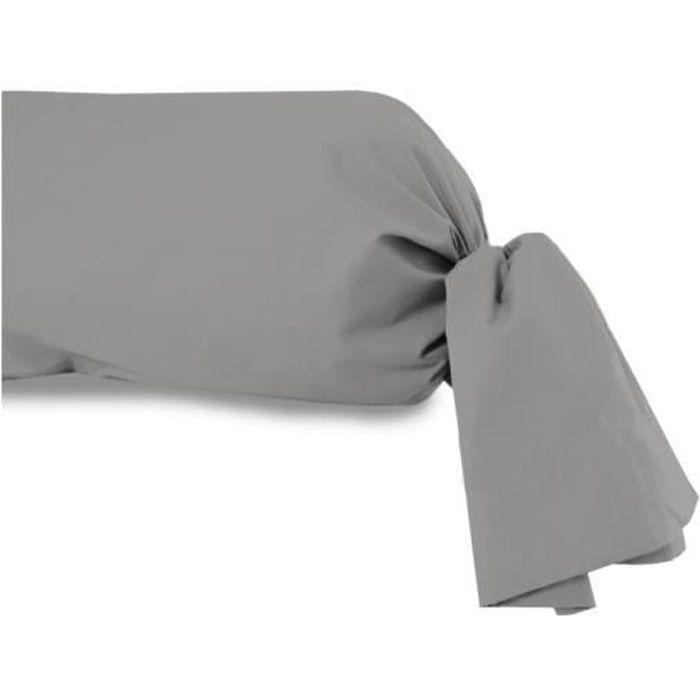 Taie de traversin en coton uni gris