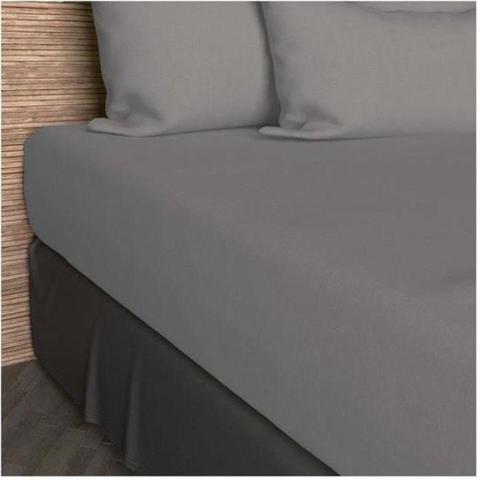 Drap housse 160x200 cm coton uni gris