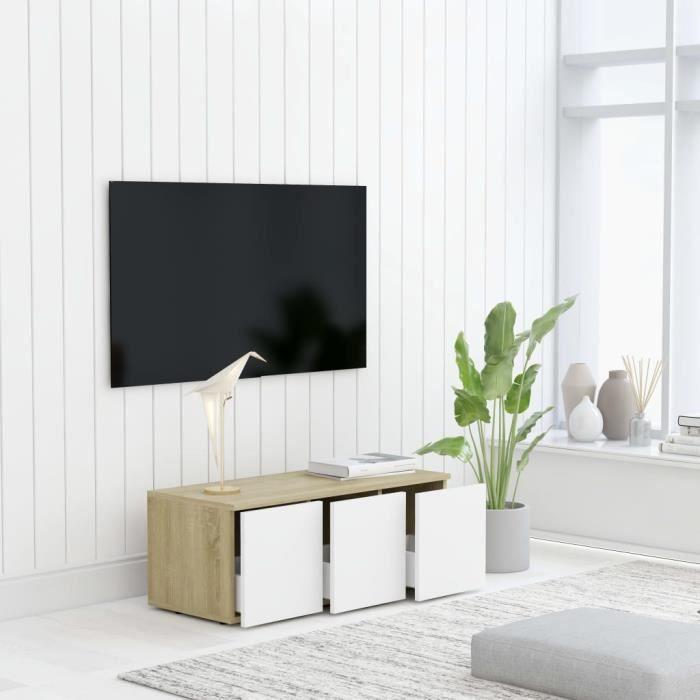 FOR Meuble TV Blanc et chêne sonoma 80 x 34 x 30 cm en Aggloméré 9375306534254