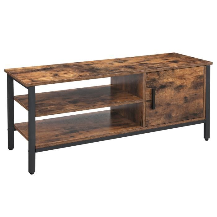 VASAGLE Meuble TV - Support TV avec Placard et 2 Compartiments Ouverts - 110 x 40 x 45 cm Style Industriel Marron rustique LTV42BX