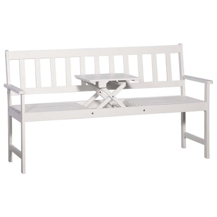 Banc de jardin et table escamotable Blanc Bois solide d'acacia - Sièges d'extérieur - Bancs d'extérieur - Blanc - Blanc