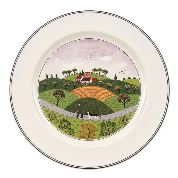 Assiette plate en porcelaine ronde D.27cm DESIGN NAIF - Chasseur