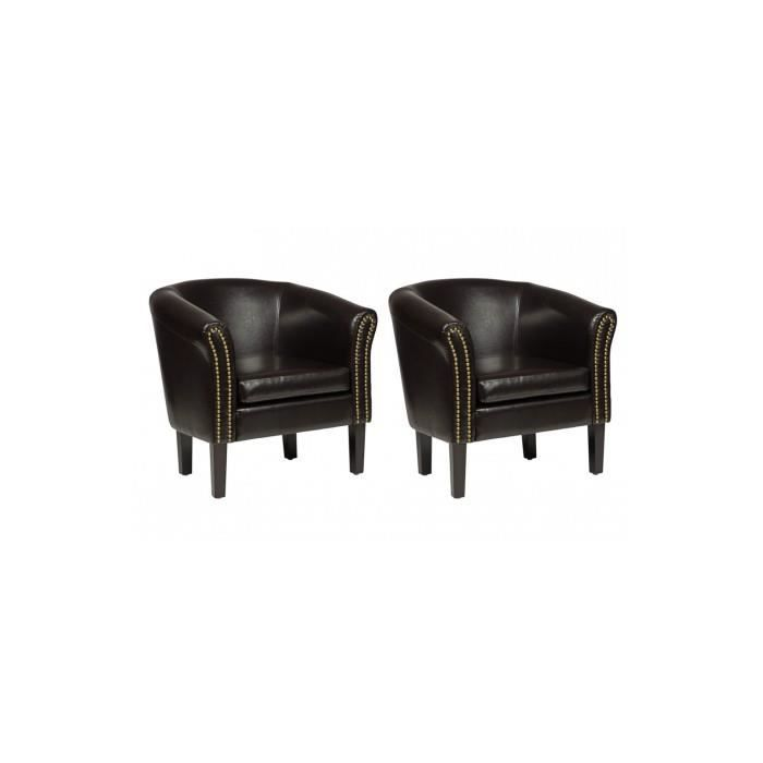 Fauteuil chesterfield pu cuir marron lot de 2 achat - Fauteuil chesterfield occasion ...