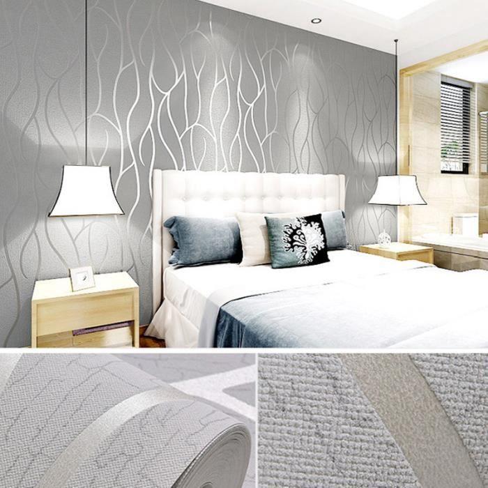Papier Peint 3D intissé moderne minimaliste courbes Décoration Chambre 0.53 x 10m - Gris clair ...