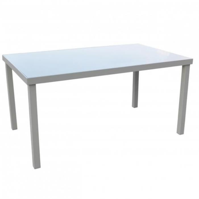 TABLE ALU/VERRE 150X90X75 TAUPE