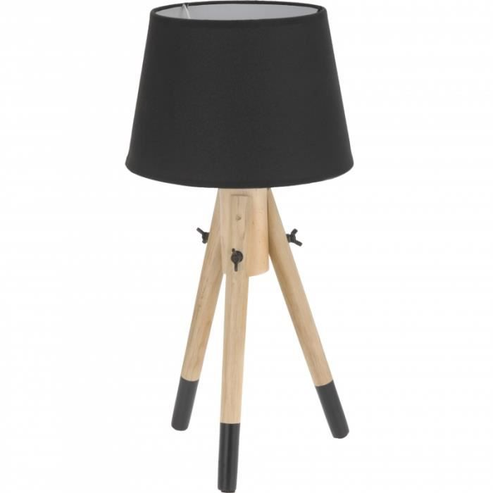 lampe de chevet 49 cm bois noir achat vente. Black Bedroom Furniture Sets. Home Design Ideas