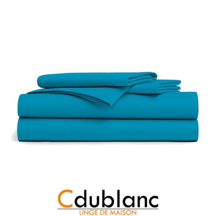 Drap Plat Bleu Turquoise
