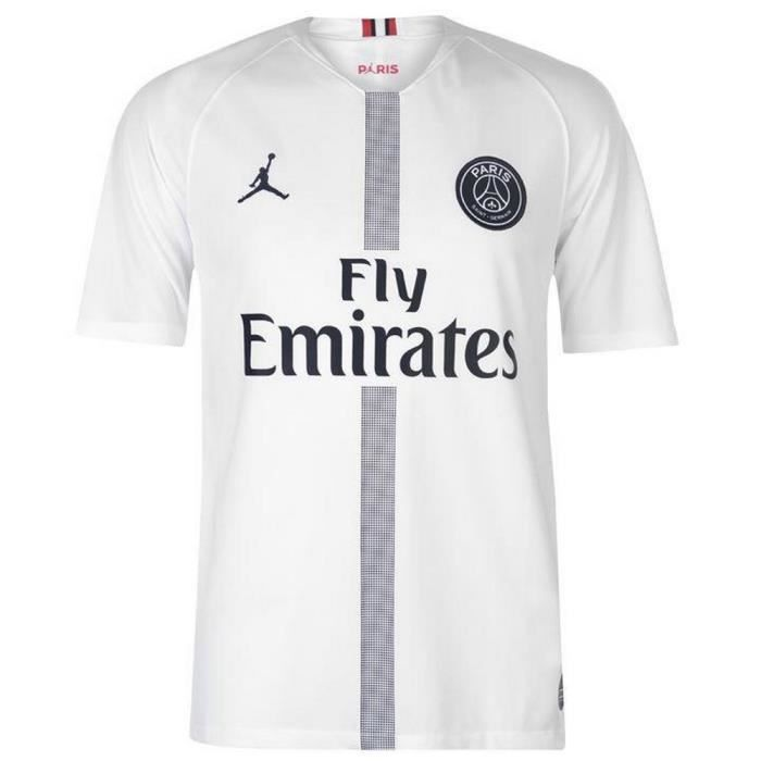 various styles release date: good looking JORDAN Maillot PSG Saison 2018-2019 - Homme - Blanc