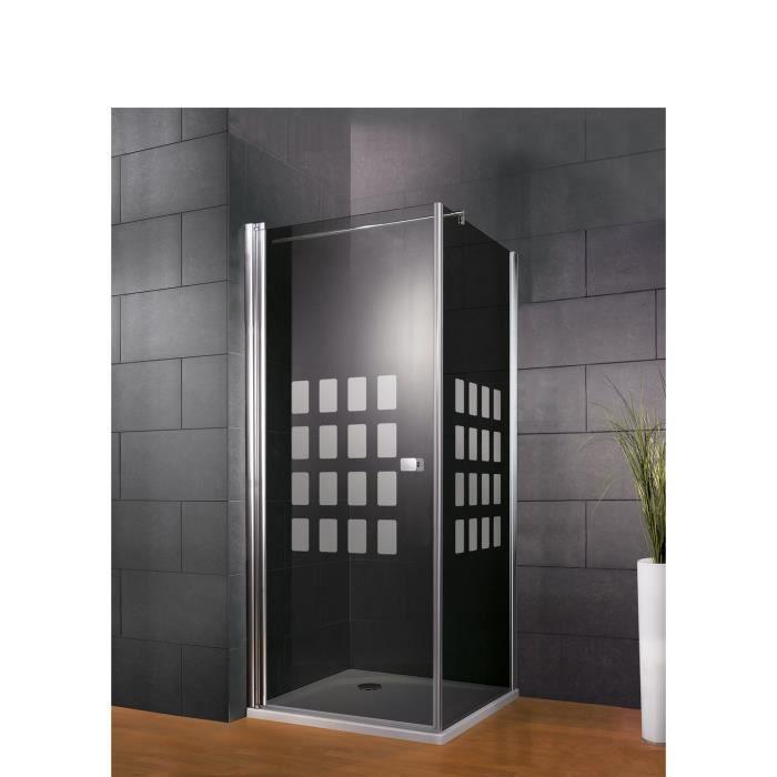 Schulte paroi de douche /à l/'italienne sans silicone verre transparent Walk In profil/é aspect chrom/é 90x190 cm