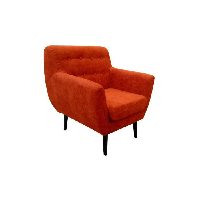 fauteuil en tissu orange 1 place malmo achat vente fauteuil jaune cdiscount. Black Bedroom Furniture Sets. Home Design Ideas