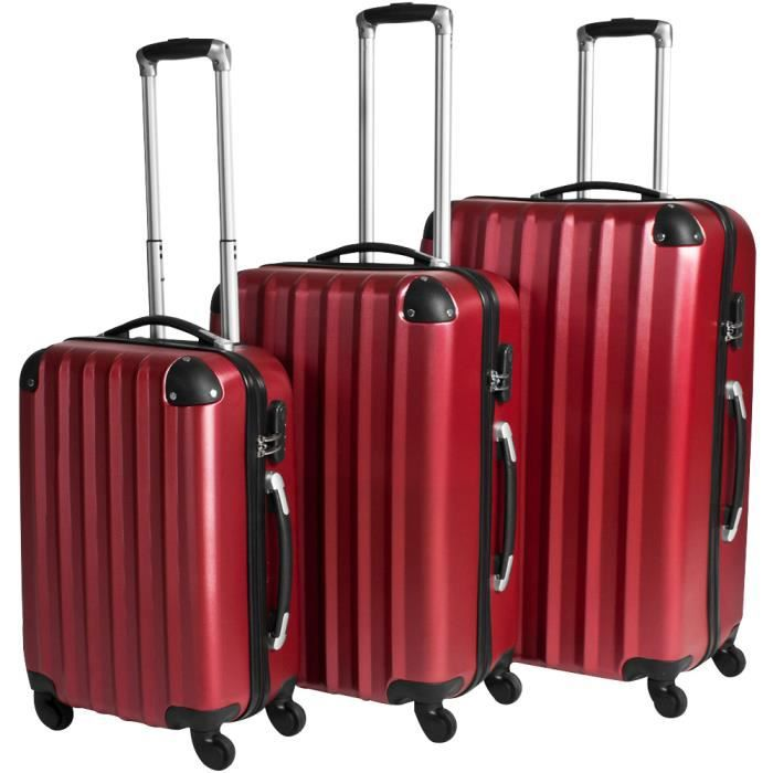 Set de 3 valises trolley rigides avec serrure for Sets de table rigides