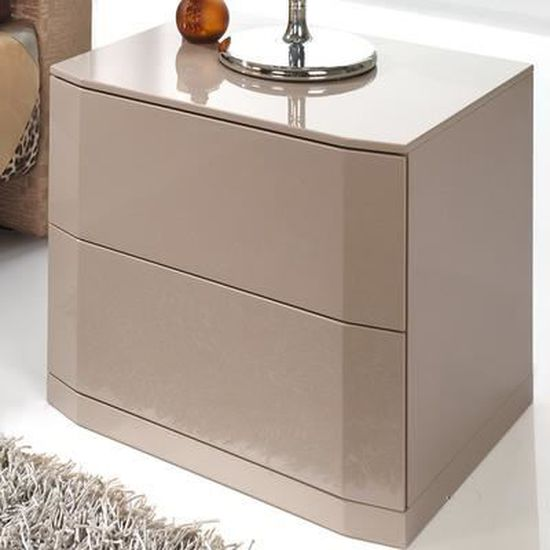 Table De Chevet Laque Taupe Design Tatimo 2 Tiroirs Avec Systeme Push Blanc