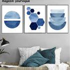 Aquarelle De Mur Bleu Peintures Indigo Marine Géométrique Art Affiches Cercles Minimaliste Rayures Sans Cadre