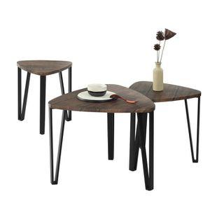 TABLE BASSE Lot de 3 Table Basse Gigogne,Plateau Bois Noyer Pi