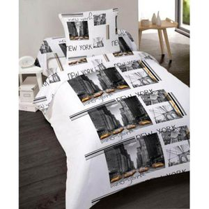 housse de couette new york achat vente housse de couette new york pas cher cdiscount. Black Bedroom Furniture Sets. Home Design Ideas