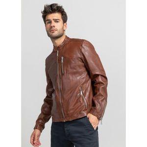 Men/'s hawk noir classique bomber style designer véritable cuir d/'agneau veste en cuir