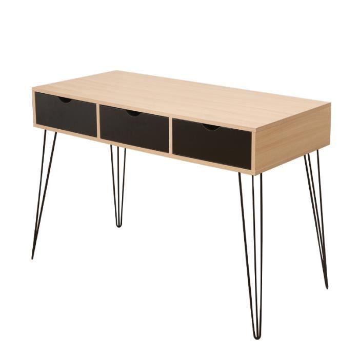 Table Console 3 tiroirs vintage LARAS bois pied épingle