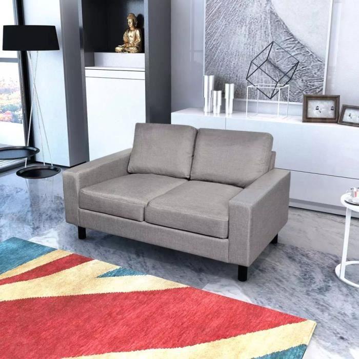 Canapé à 2 places Canapé d'angle Tissu Gris clair
