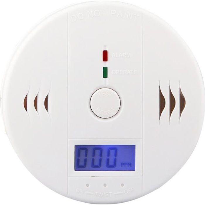 Détecteur de Monoxyde de Carbone CO Gaz portable Surveillance Capteur Empoisonnement Avertissement d'alarme du Testeur Blanc