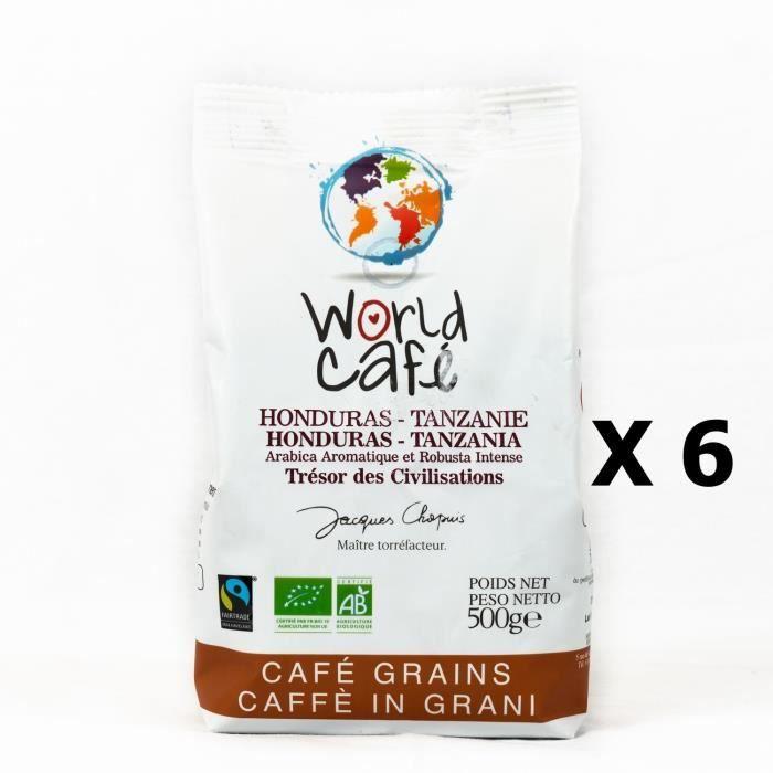 Lot 6x Café grains BIO Honduras - Tanzanie - World Café Jacques Chapuis - paquet 500g