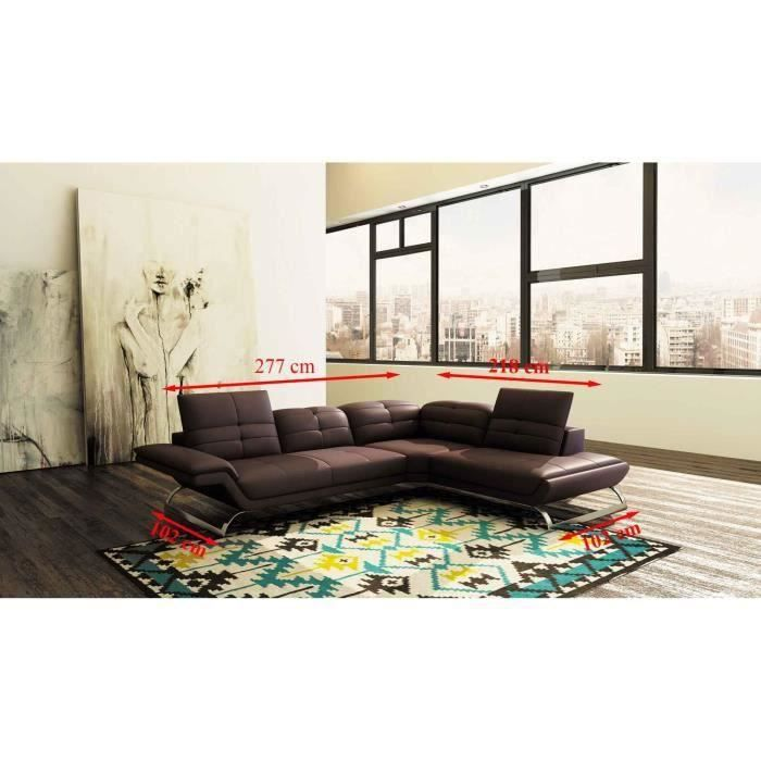 Canapé d'angle design en cuir marron AURORE (ANGLE DROIT)