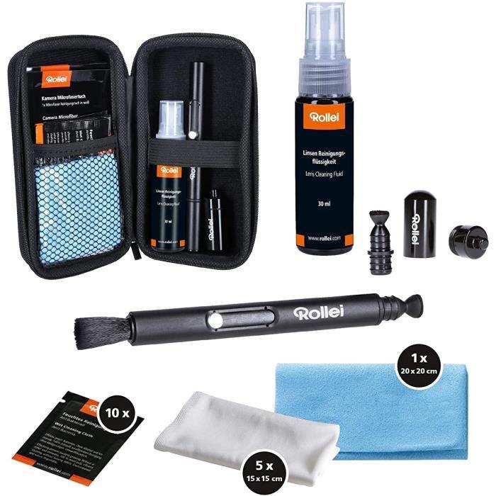 Kit de nettoyage d'appareil photo Rollei Pro I pour les photographes I Kit de nettoyage avec Lenspen, chiffons en microfibre,