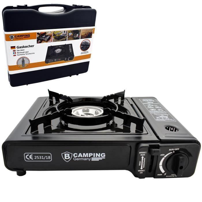 Réchaud à gaz de camping noir max. 2,1 kW cartouches gaz butane cuisinière à gaz brûleur barbecue camping jardin fêtes