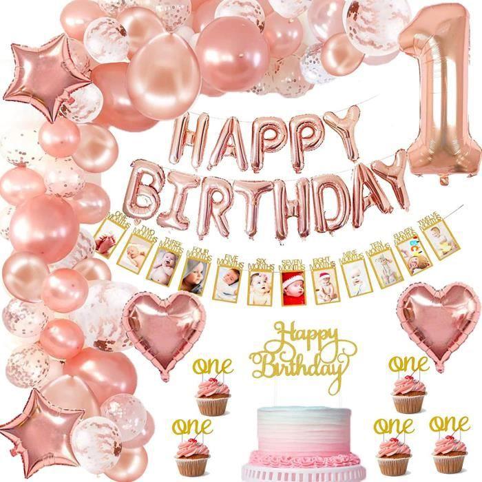 1er anniversaire décorations fille, avec banderole photo enfant 1-12 mois photo, or rose happy birthday balloons,ballons confettis&l