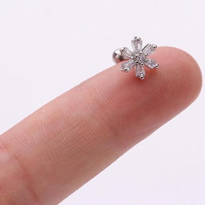 1 pièces oreille Piercing bijoux acier inoxydable Zircon étoile flocon de neige lune boucles d'oreilles pour les fem*ME6363