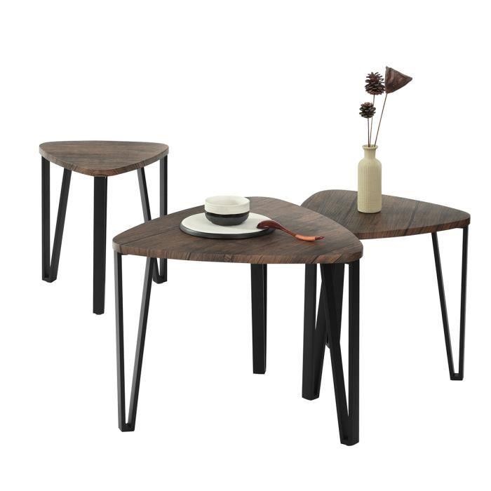 MEUBLES COSY Lot de 3 Table Basse Gigognes Plateau Bois Noyer Pieds Métal Noir,Style Industriel Vintage