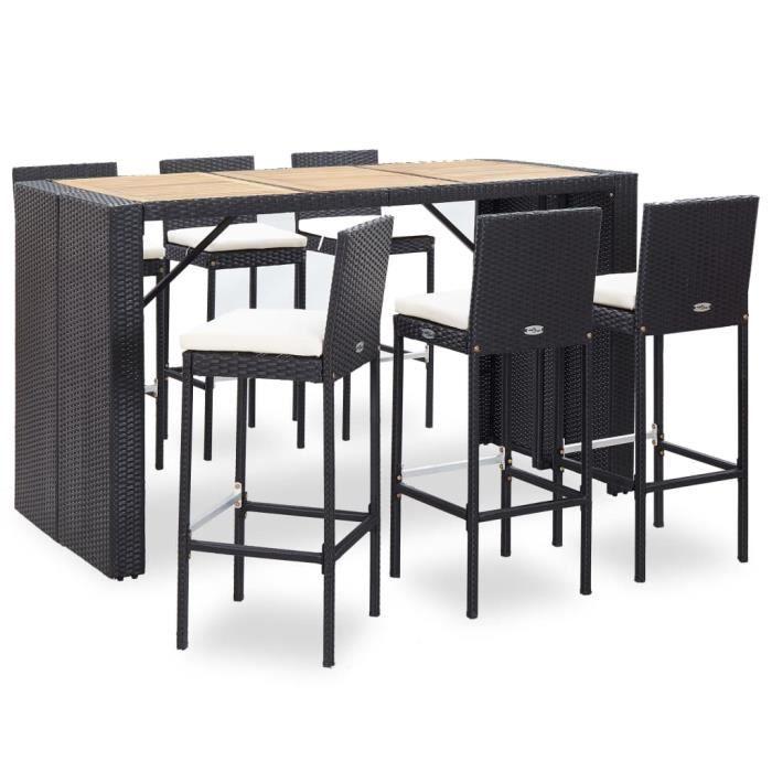 Ensemble table de bar bistrot jardin + 6 tabourets Table Mange-debout Table haute cuisine- et coussins Résine tressée Noir