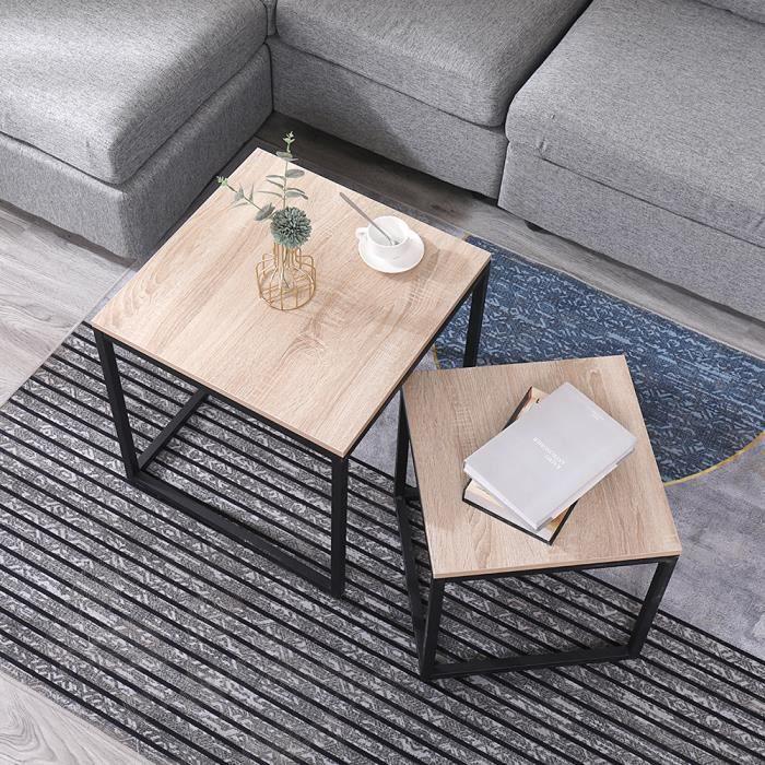 Lot de 2 Tables Basses Carrée Gigognes Design Industriel de Style avec des Pieds en Métal Noir et Panneau de Particules E1