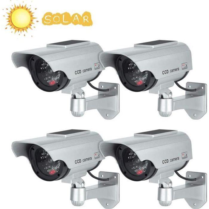 Caméras factices avec Panneau Solaire 4 Pack Fausse de Sécurité Caméra CCTV avec LED Lumière pour Usage Intérieur Extérieur Argent