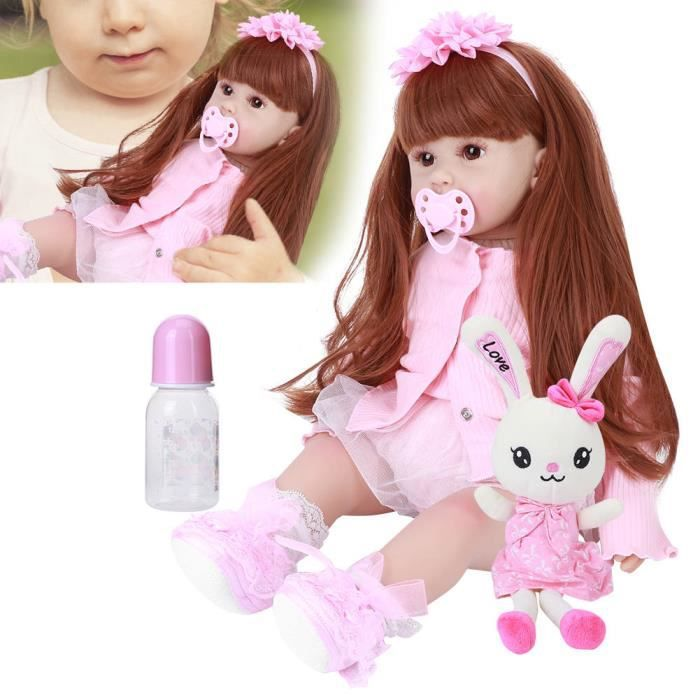 Atyhao poupée bébé fille Reborn Toddler Silicone Baby Girl Doll Vivid Creativity Present Beautiful Baby Toy 60cm (Brown Eyes)