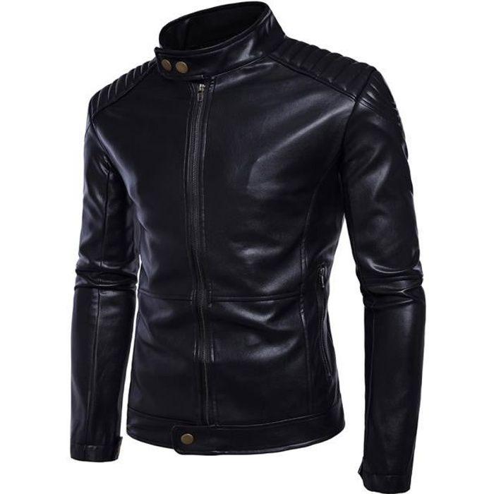 Veste de moto rétro classique pour homme en cuir PU blouson mince