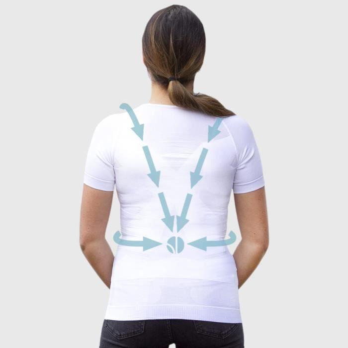 T-shirt Blanc Femme Manches Courtes - Correcteur de Posture - Compression 360° - Anti-Mal de Dos - Maillot de Corps Sport Fitness